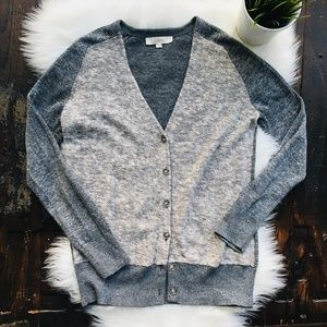 ANN TAYLOR LOFT Linen Bld Silver Metallic Cardigan